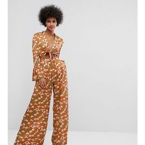 Horrockses Tie Front Jumpsuit w/Fluted Sleeve